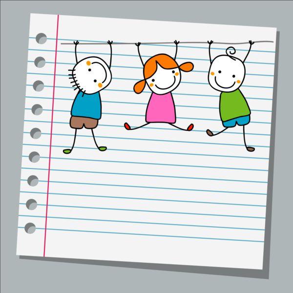 Notebook paper with kids vector material 03 - Secretaría virtual