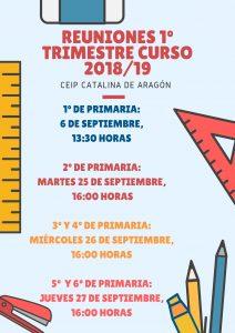 REUNIONES 1º TRIMESTRE CURSO 20182F19 1 212x300 - Reuniones de principio de curso 2018-2019.