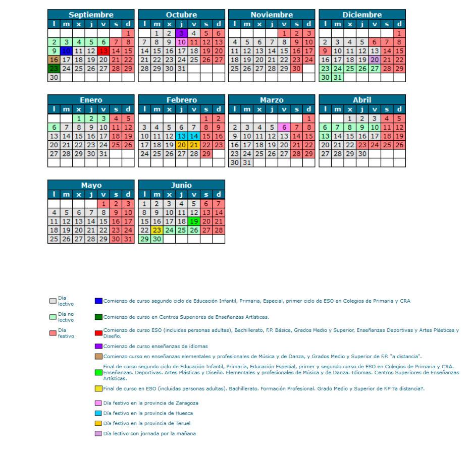 Calendario escolar aragon zaragoza 2019 20201 - CALENDARIO ESCOLAR 2019/20
