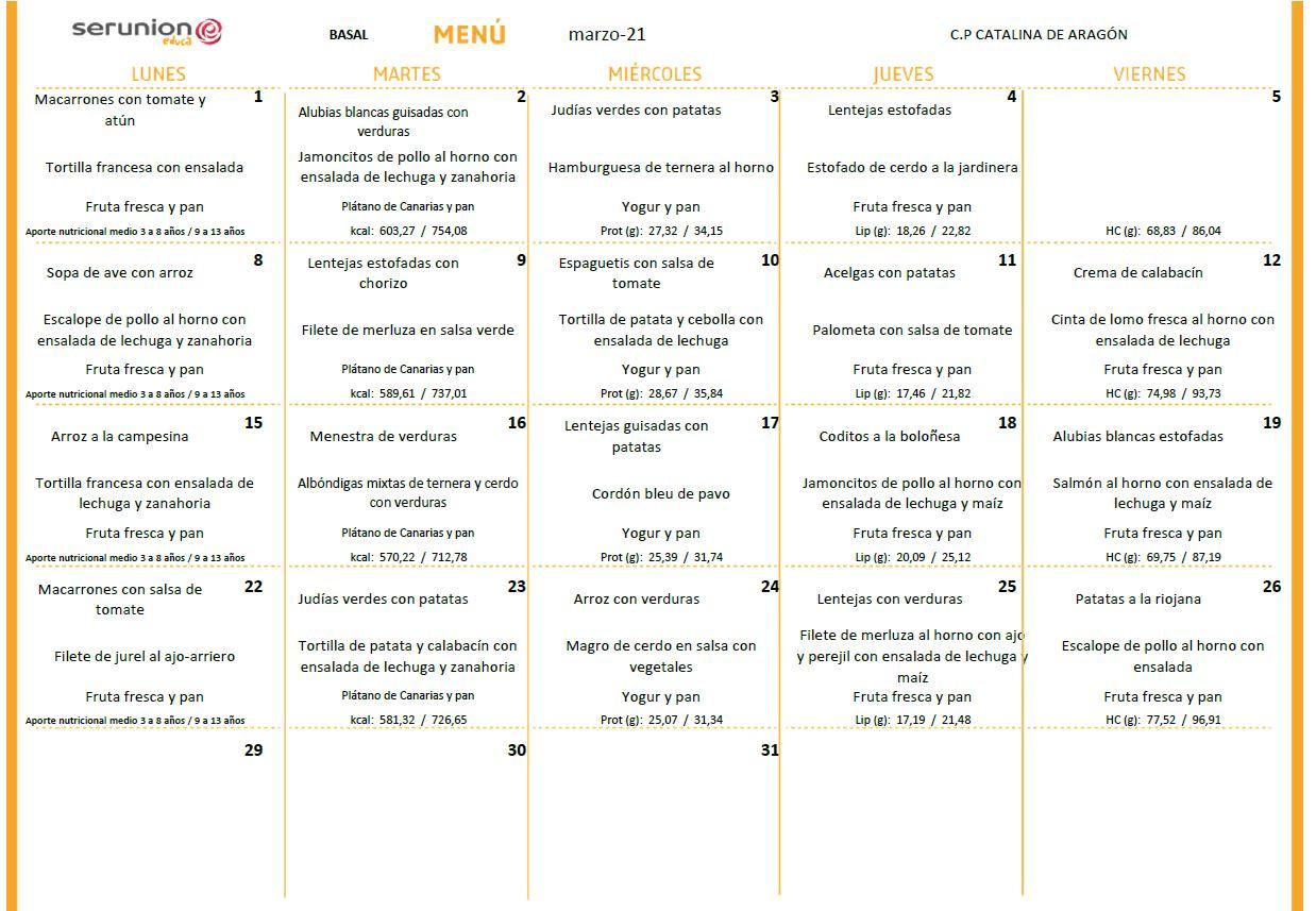 menu marzo basal - Menú mes de marzo 2021